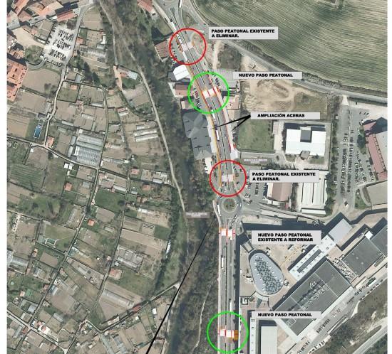 Plano de la transformación de la ronda PA-30 en el tramo Huarte-Olloki, en la zona del centro comercial Itaroa